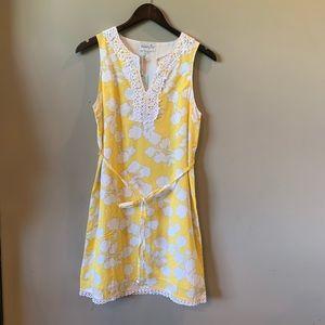 NWT Mud Pie Yellow & White Sleeveless Dress Small